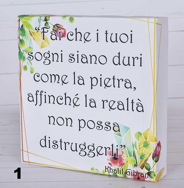 Krei Feeling - frasi su tela realizzata artigianalmente. Scegli lo sfondo e personalizza la scritta, indicando la tua frase che vuoi regalare.
